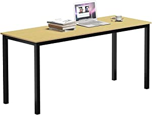 SAMTRA 63 inch Simple Wood Writers Desk Computer Workstations Modern Study Writing Tables Bedroom Home Office, Oak