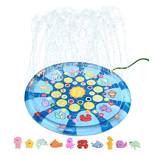 "4 In 1 Splish Splash Learning Pad – Outdoor 60"" Sprinkler Water Toy for Toddlers and Kids 