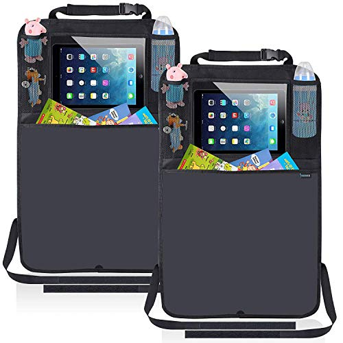 Kick Mats Car Seat Back Protector Organizer with 10.1 Tablet Holder Car Travel Accessories for Kids Baby (2pack)