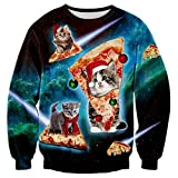 RAISEVERN Unisex Galaxy Space Ugly Christmas Cat Stampa Maglioni Pullover Maglione Felpa per Uomo Donna