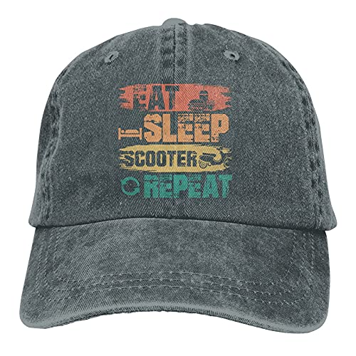 Gymini Eat Sleep Scooter Repeat Scooters Sombreros Algodón Lavable Gorras de béisbol Ajustable para Hombre Mujer Deep Heather