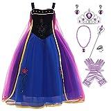 Kosplay Disfraz de Princesa Anna para Niñas, Disfraz de Princesa de Reinas de Nieve para Fiesta de Hielo y Nieve Cosplay Halloween Carnaval Cumpleaños para Niños de 2 a 10 Años