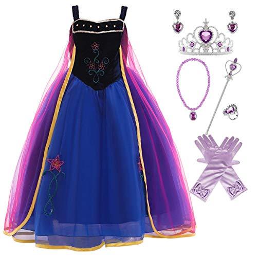 Kosplay Disfraz de Princesa Anna para Nias, Disfraz de Princesa de Reinas de Nieve para Fiesta de Hielo y Nieve Cosplay Halloween Carnaval Cumpleaos para Nios de 2 a 10 Aos