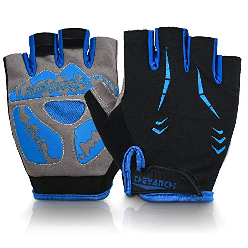 QINPEIER Cycling Gloves, Half Finger Bicycle Gloves with Gel Pad Shock-Absorbing Anti-Slip, Breathable Road Bike Motorcycle Mountain Bike Gloves for Men & Women