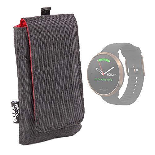 DURAGADGET Funda Acolchada Negra/Roja Compatible con Smartwatch Suunto Spartan Sport Wrist HR, Suunto 9 Baro, Polar Ignite, Montblanc Summit 2 - Impermeable