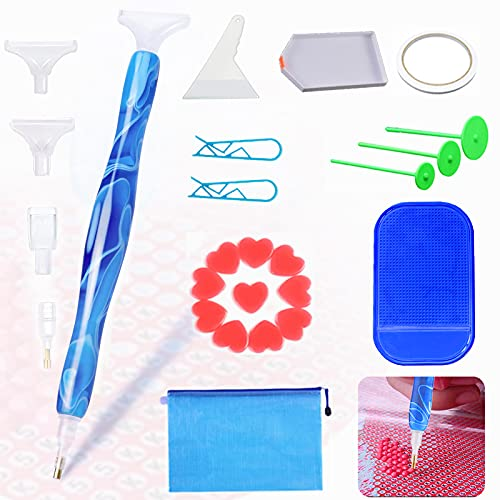 Diamond Art Accessories and Tools Kit Pens,5D Diamond Painting Tools Set with Multi Interchangeable Placers and Wax Clay,Ergonomic Design,Comfortable to Hold,Diamond Painting Arts Nails DIY Crafts