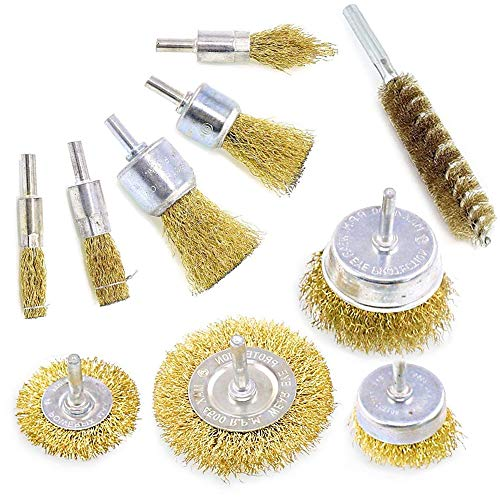Wire Brushes Drills Set 10 pcs,Brass Coated Wire Brush Wheel, Cup Brush and Tube Brush Kit,10 Sizes Metal Brushes with 1/4 Inch Shank for Cleaning Rust,Removing Paint and Cleaning Wood (Gold)