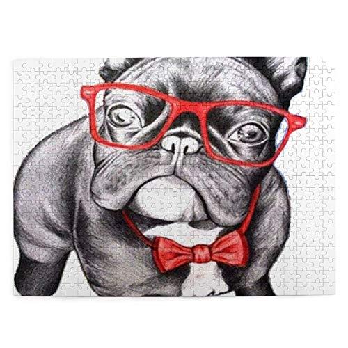 Bulldog con Gafas Puzzle de 500 Piezas Puzzle de 500 Piezas para Adultos y niños Juego de Cerebro Pintura Lienzo Arte de la Pared Decoración Regalo Decoración para el hogar 20.4X15 (Pulgadas)