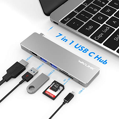 WAVLINK USB C Hub,7 in 1 Aluminum Type C Adapter with 4K USB C to HDMI,100W Power Delivery,SD/Micro SD Card Reader,2 USB 3.0 for MacBook Pro, iPad Pro, XPS, Pixelbook, and More Type C Devices