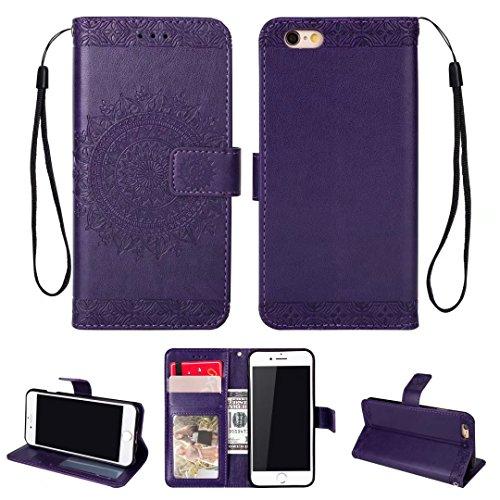 iPhone 5/5S/5SE hoesje PU lederen portemonnee reliëf Mandala bloem standaard Flip case credit card slot beschikt over beschermende DECHYI case, Portemonneehouder, Paars, iPhone 6/6s Plus (5.5