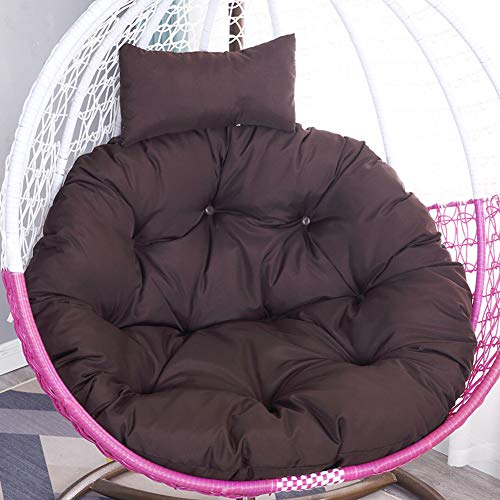 HAOTENG Thick Hanging with Head Pillow Chair Cushion,Nest Swing Soft Comfortable Egg Chair Cushion,for Hanging Basket Seat Dark Coffee Diameter 105cm