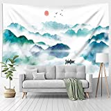 Jhdstore Foggy Mountain Tapestry Sunset Birds Boat Lake Tapestry Watercolor Nature Landscape Tapestries Wall Hanging for Room Green 51x59 Inches