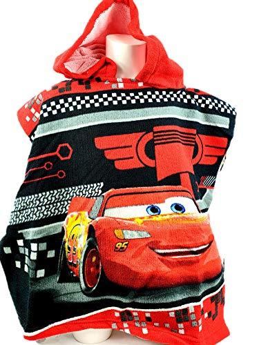Disney Cars, poncho per bambini, 100% cotone, 50 x 100 cm, colore: rosso/nero