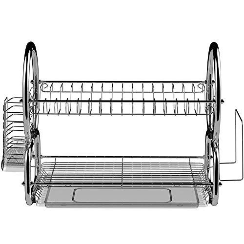 BFDMY Abtropfgestell 2 Etagen Edelstahl Küchen Geschirrablage Abtropfbrett Abtropfständer Abtropfgitter Geschirrtrockner Für Teller Und Besteck, 44 X 25 X 38 cm, Silber