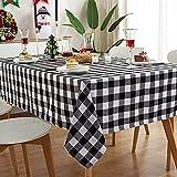 VIVILINEN Mantel Rectangular, Mantel de Dacron, diseño de cuadrícula de Costura Cuadrada, manteles rectangulares, manteles Lavables para Cocina, Mesa de Comedor (Negro, 140x240cm)
