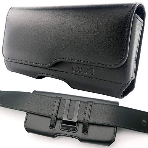 scozzi Handy Gürteltasche Echt Leder Quer Gürtel Tasche Handytasche Clip Halterung Universal kompatibel mit Samsung,iPhone,Huawei S21 S20 S10 S9 A71 A51 M51 P40 12 11 X XS XR Plus Mini Lite Ultra Pro
