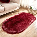 SWECOMZE Lammfellimitat Flauschigen Teppiche Imitat Kunstfell,Nachahmung Wolle Bettvorleger Sofa Matte (Weinrot, 40 * 60cm)
