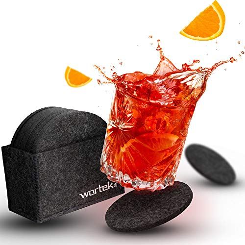 wortek Posavasos redondos de fieltro gris oscuro – Juego de 10 posavasos...