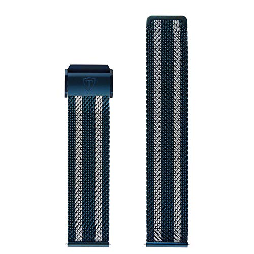 DETOMASO Uhrenarmband Milanaise Edelstahl-Armband Bicolor Blau Silber 24mm mit Schnellwechsel Federsteg
