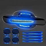 Car Door Handle Cup Protector,Protezione Della Tazza Della Maniglia Della Portiera Dell'Auto,Strisce Riflettenti Auto (blu)