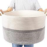 CHICVITA XXL Extra Large Cotton Rope Woven Basket, Throw Blanket Storage Basket with Handles, Decorative Clothes Hamper - 22' x 22' x 14'