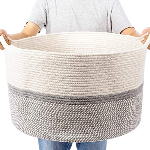 XXL Extra Large Cotton Rope Woven Basket, Throw Blanket Storage Basket with Handles, Decorative Clothes Hamper - 22' x 22' x 14'