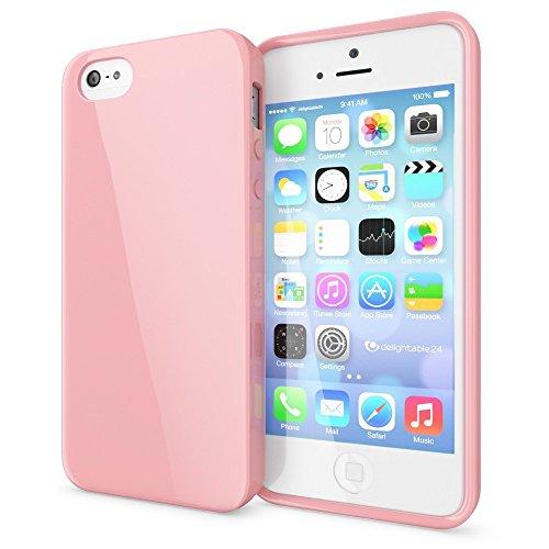 NALIA Custodia compatibile con iPhone SE 5 5S, Cover Protezione Ultra-Slim Phone Case Protettiva Morbido Cellulare in Silicone Gel, Gomma Jelly Telefono Bumper Sottile - Rosa