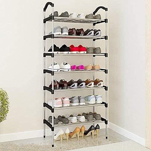 TAHMM Estilo de Zapatos de Estilo Moderno, Estante de Zapatos apilables, Conector de plástico y Almacenamiento de Zapatos de tubería de Acero, Estante Independiente, Cromo Negro (Size : 7 Tier)
