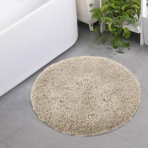Seavish Luxury Beige Bath Rug, 2ft Shaggy Round Bathroom Rug,Non Slip Efficient Water Absorbent Machine Washable Tufted Bath Mat Microfiber Soft Thick Plush Circular Rug Floor Carpet