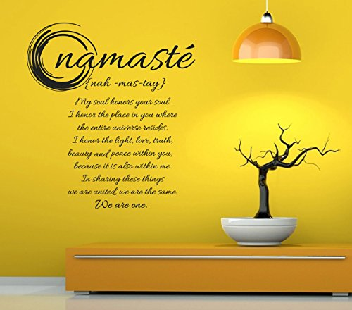 CreativeWallDecals Vinyl Wall Decal Sticker Bedroom Namaste Buddha Lotus Quote I Honor You Soul R1541