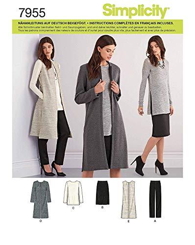 Simplicity 7955.u5cartamodello Long Gilet & Cardigan (da donna, taglia 42–50)