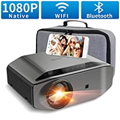 "Beamer Full HD Wi-Fi Bluetooth – Artlii Energon2 7500 Lumens Native 1080P LED Beamer WiFi stöder 4K, 300 ""Projektor kompatibel med TV Stick Laptop iOS / Android Smartphone för filmer, Switch Games"