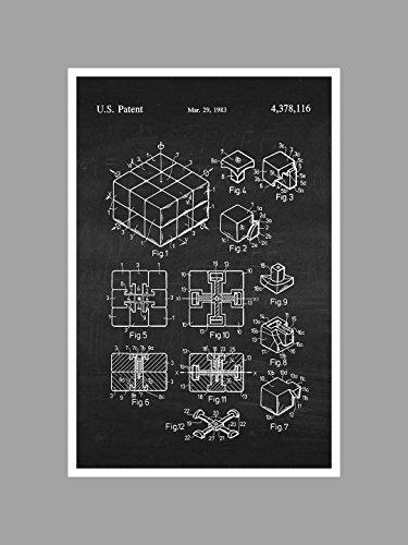 ArtsyCanvas Rubiks Cube - White on Chalkboard - Toy Patents - 24x16 Matte Poster Print Wall Art