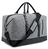 BLUBOON Weekender Overnight Bag Lightweight Travel Duffle Bag with Shoe Compartment for Men Womens Carry On Tote Bags (grey)