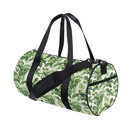 GEEVOSUN Fashion Print Gym Travel Duffle Bag Exotic Tropic Pattern With Palm Leaves Breadfruits Plumeria Flowers And Parrots Latest Personalized Carry-on Luggage Bag with Strap