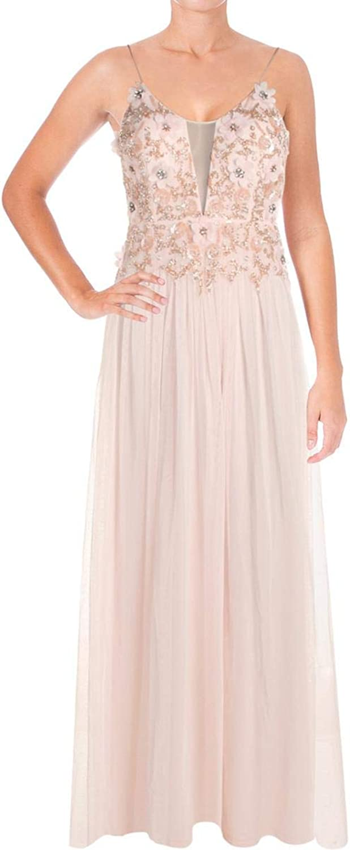Aidan Mattox Aidan Womens Beaded Mesh Evening Dress