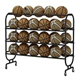 YBWEN Soporte de Baloncesto 4-Capa de Baloncesto de Almacenamiento en Rack Bola de los Deportes Organizador Básquet Fútbol for Playgroup Gimnasia Balones medicinales