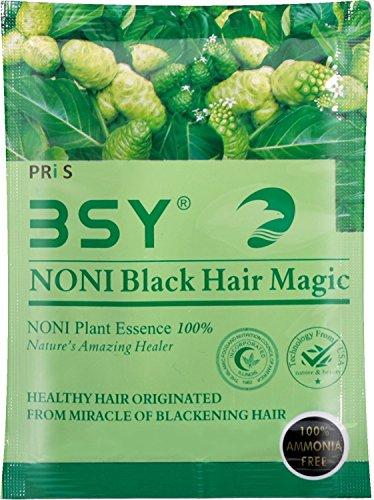 Coloration naturelle pour cheveux (noir) - Couvre les cheveux gris (pas de PPD para-phénylènediamine) par BSY NONI - Couleur de cheveux noire.
