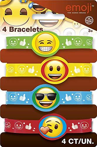Unique Party 50608 - Emoji Rubber Bracelets Party Bag Fillers, Pack of 4