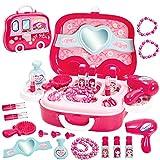 HERSITY Malette Maquillage Jouet Enfant Voiture de Maquillage Kit Coiffure Jeu d'imitation Cadeau pour Enfant Princesse Fille Garçon 3 4 5 6 Ans