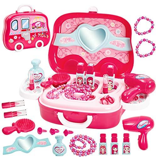 HERSITY Schminkset Mädchen Rollenspiel Prinzessin Spielzeug mit Multifunktionale Kosmetiktasche Geschenk für Kinder 3 4 5 Jahre