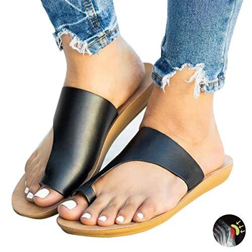 Sandalen Damen Sommer Bequeme Zehentrenner Frauen Flach Flip Flops Strand Hausschuhe Big Toe Hallux Valgus Sandale Schuhe Für Bunion Correct,Black,39