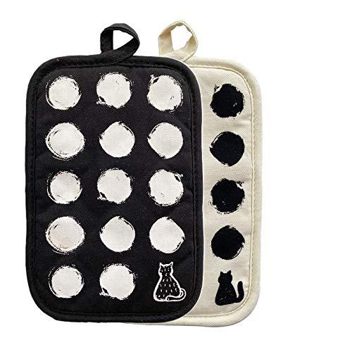 ZORR 4er Topflappen mit Tasche Katze Motiv, Baumwolle, Geschenke für Katzenliebhaber, Topfhandschuhe Hitzebeständige für Kochen & Backen (4er Topflappen)