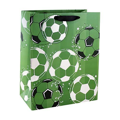 Clairefontaine 26910-2C - Sacchetto di carta regalo largo 26,5 x 14 x 33 cm, motivo: calcio