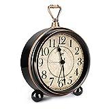 welltop Retro Alarm Clock for Living Room Table Desk Bedroom Vintage Classic Non-Ticking