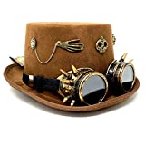 Storm buy ] Steampunk Top Hat Mad Scientist Time Traveler Feather Halloween Costume Cosplay Party with Goggles (Brown Skull.1)