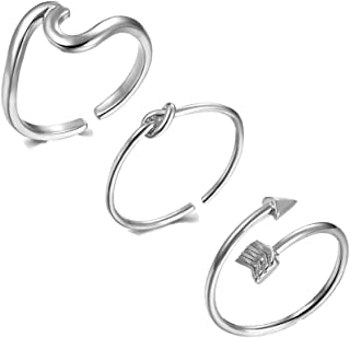 choice of all 3Pcs Arrow Knot Wave Rings for Women Simple Adjustable Rings Set