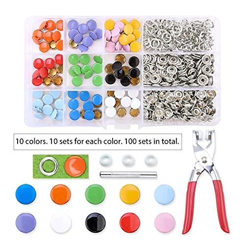 Duradero Conjuntos de 100/200 Conjuntos Kit de sujetadores de ajuste, botones de metal con alicates de sujetadores Kit de herramientas de prensa para ropa Costura de 10 colores Para proyectos