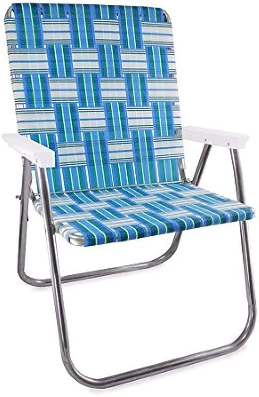 Lawn Chair USA Webbing Chair Magnum Sea Island With White Arms