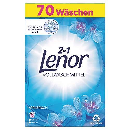 Lenor Waschmittel Pulver, Waschpulver, 70 Waschladungen, Lenor Aprilfrisch mit Duft von Frühlingsblumen (4.55 kg)